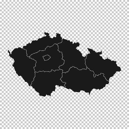 Czech Republic Map - Vector Solid Contour and State Regions on Transparent Background. Illustration
