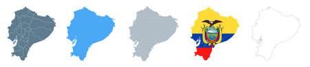 Ecuador Map Set - Vector Solid, Contour, Regions, Flag Pixels Illustration