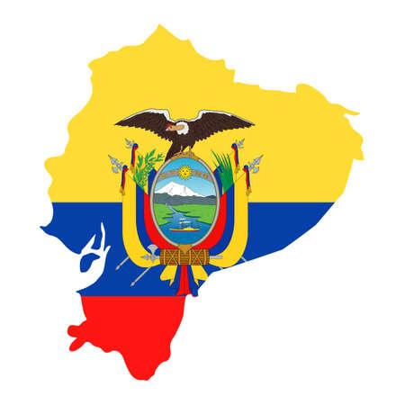 Ecuador Map Flag Fill Background - Vector illustation. Illustration