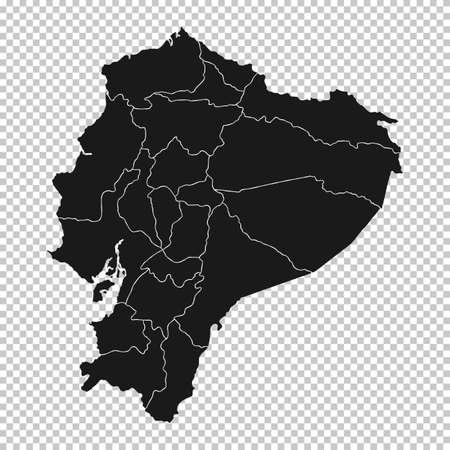 Ecuador Map - Vector Solid Contour and State Regions on Transparent Background. Illustration Çizim