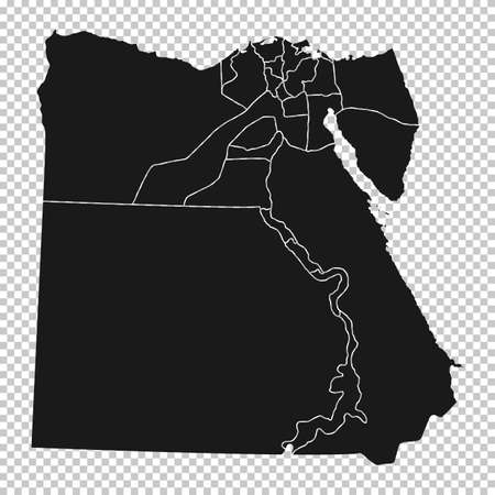 Egypt Map - Vector Solid Contour and State Regions on Transparent Background. Illustration