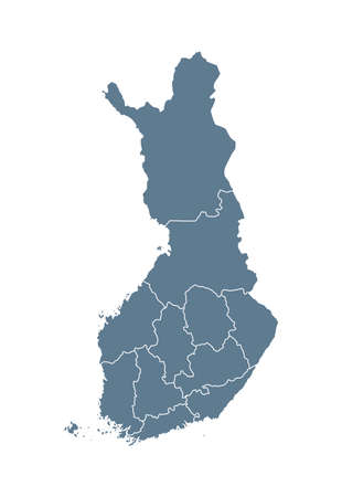 Finland Map - Vector Solid Contour and State Regions. Illustration Çizim