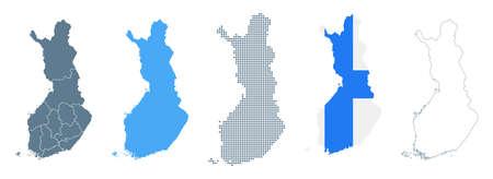 Finland Map Set - Vector Solid, Contour, Regions, Flag Pixels Illustration