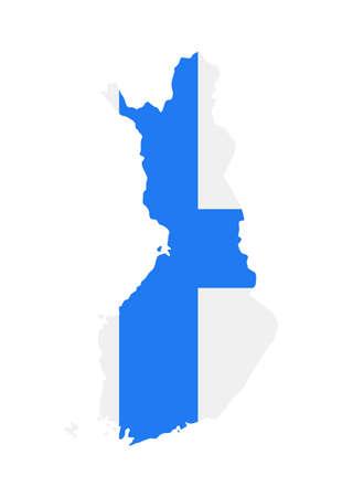 Finland Map Flag Fill Background - Vector illustation. Illustration