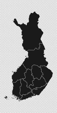 Finland Map - Vector Solid Contour and State Regions on Transparent Background. Illustration Çizim
