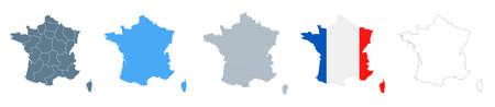 France Map Set - Vector Solid, Contour, Regions, Flag Pixels Illustration Çizim