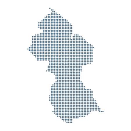 Guyana Map - Vector Pixel Solid Contour. Illustration