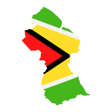 Guyana Map Flag Fill Background - Vector illustation. Illustration Çizim