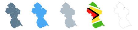Guyana Map Set - Vector Solid, Contour, Regions, Flag Pixels Illustration Çizim