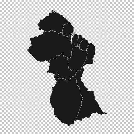 Guyana Map - Vector Solid Contour and State Regions on Transparent Background. Illustration Çizim