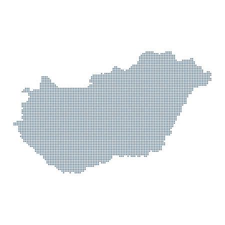 Hungary Map - Vector Pixel Solid Contour. Illustration Çizim