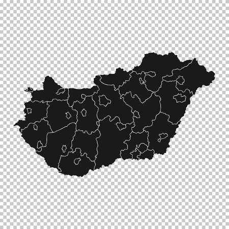 Hungary Map - Vector Solid Contour and State Regions on Transparent Background. Illustration