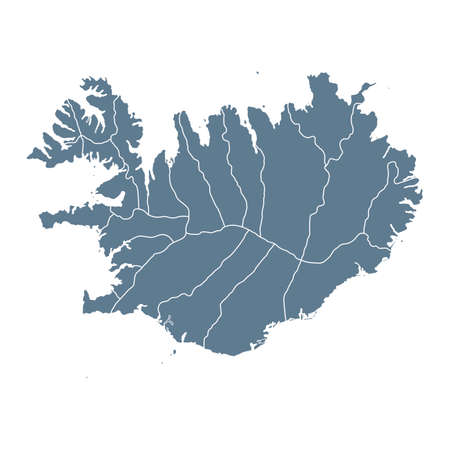 Iceland Map - Vector Solid Contour and State Regions. Illustration Çizim
