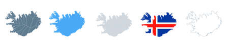 Iceland Map Set - Vector Solid, Contour, Regions, Flag Pixels Illustration Çizim