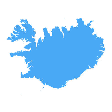 Iceland Map - Vector Solid Contour. Illustration Çizim