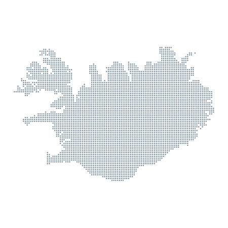 Iceland Map - Vector Pixel Solid Contour. Illustration Çizim