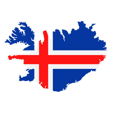 Iceland Map Flag Fill Background - Vector illustation. Illustration