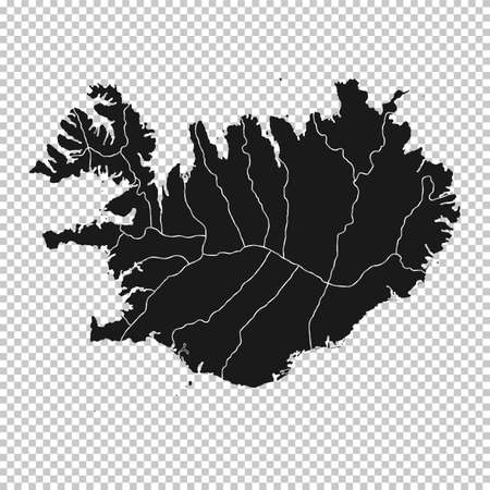 Argentina Map - Vector Solid Contour and State Regions on Transparent Background. Illustration