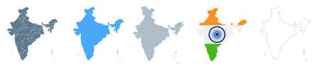 India Map Set - Vector Solid, Contour, Regions, Flag Pixels Illustration