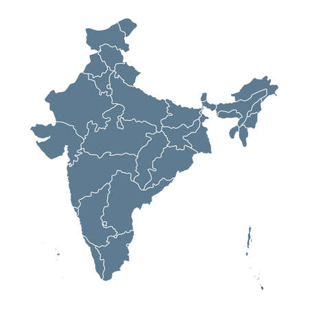India Map - Vector Solid Contour and State Regions. Illustration