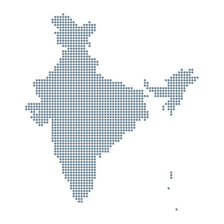 India Map - Vector Pixel Solid Contour. Illustration