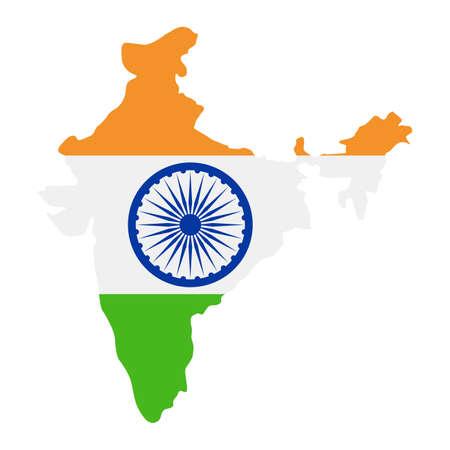 India Map Flag Fill Background - Vector illustation. Illustration Çizim