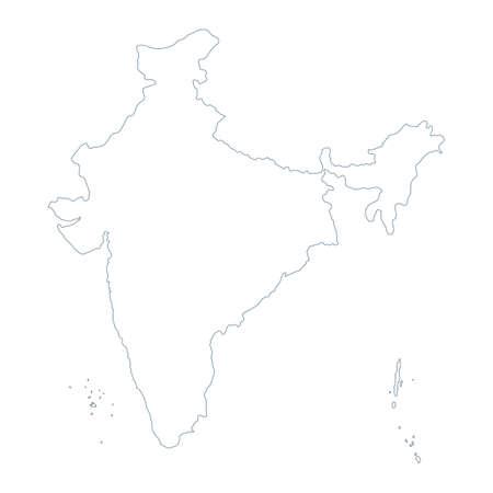 India Map - Vector Contour. Illustration Çizim