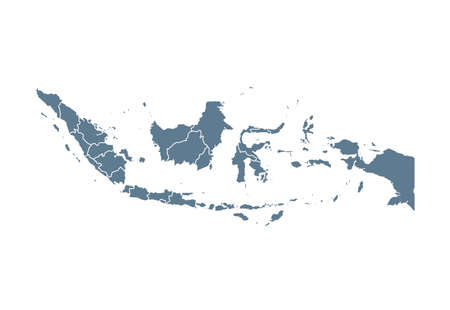 Indonesia Map - Vector Solid Contour and State Regions. Illustration