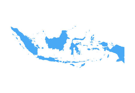 Indonesia Map - Vector Solid Contour. Illustration Çizim