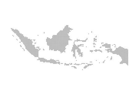Indonesia Map - Vector Pixel Solid Contour. Illustration