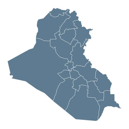Iraq Map - Vector Solid Contour and State Regions. Illustration