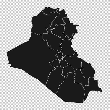 Iraq Map - Vector Solid Contour and State Regions on Transparent Background. Illustration