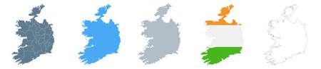Ireland Map Set - Vector Solid, Contour, Regions, Flag Pixels Illustration