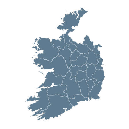 Ireland Map - Vector Solid Contour and State Regions. Illustration Çizim