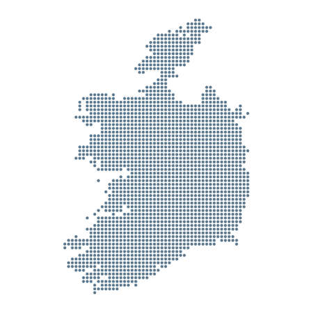 Ireland Map - Vector Pixel Solid Contour. Illustration