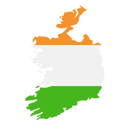 Ireland Map Flag Fill Background - Vector illustation. Illustration