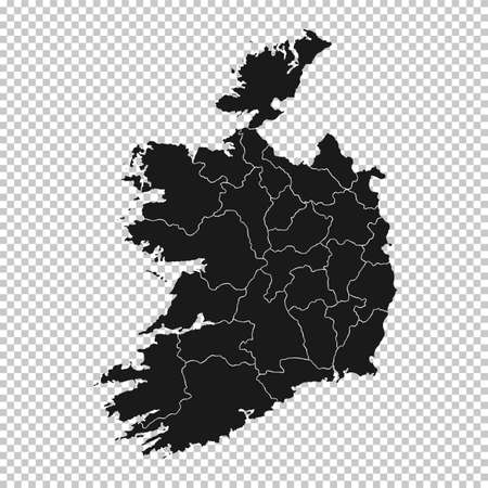 Ireland Map - Vector Solid Contour and State Regions on Transparent Background. Illustration Çizim