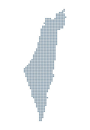 Israel Map - Vector Pixel Solid Contour. Illustration