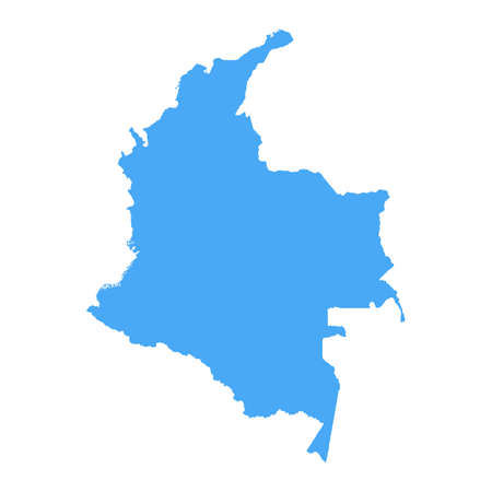 Colombia Map - Vector Solid Contour. Illustration