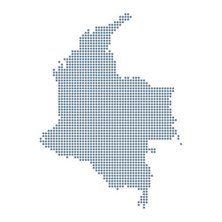 Colombia Map - Vector Pixel Solid Contour. Illustration Çizim