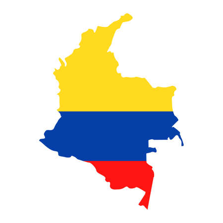 Colombia Map Flag Fill Background - Vector illustation. Illustration Çizim