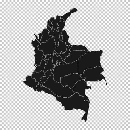 Colombia Map - Vector Solid Contour and State Regions on Transparent Background. Illustration