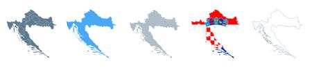 Croatia Map Set - Vector Solid, Contour, Regions, Flag Pixels Illustration Çizim