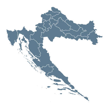 Croatia Map - Vector Solid Contour and State Regions. Illustration Çizim