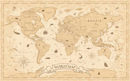 Detailed Vintage Old-Style World Map - illustration - layers