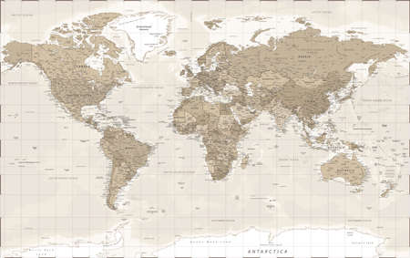 World Map Political - Vintage Retro Old Style - Detailed Illustration Banco de Imagens