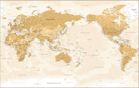 World Map - Pacific China Asia Centered View - Vintage Golden Political - Detailed Banco de Imagens