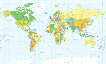 World Map Vintage Political - Illustration - Layers Banco de Imagens