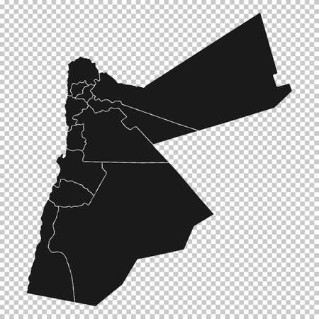 Jordan Map - Vector Solid Contour and State Regions on Transparent Background. Illustration