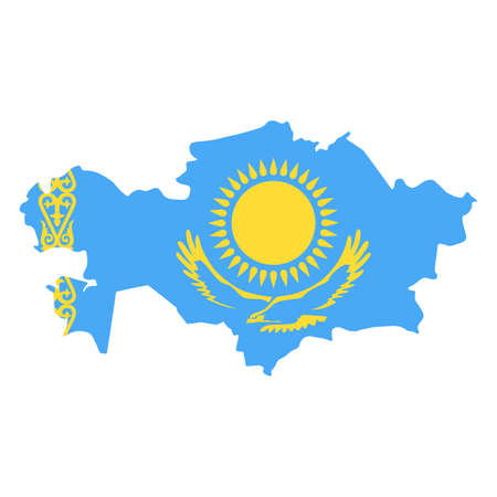 Kazakhstan Map Flag Fill Background - Vector illustation. Illustration